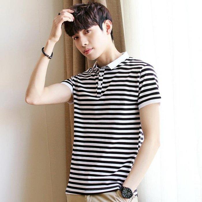男短袖POLO衫新款條紋 韓版修身純棉翻領T恤t890