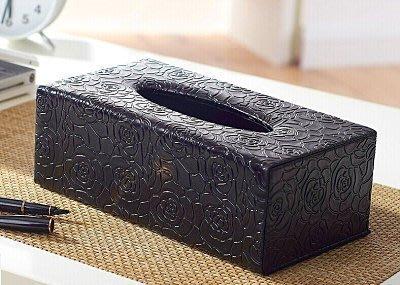 【易發生活館】高檔浮雕皮革面紙盒/木質150抽B-080/英倫黑色棕色玫瑰