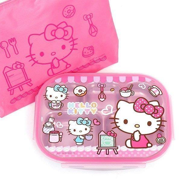 韓國 Hello kitty 凱蒂貓 304不銹鋼 密封樂扣式 便當盒 分格餐盤 餐盒 附收納袋 送禮 聖誕節 生日