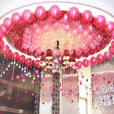 珠光氣球心形吊墜婚房布置裝飾氣球愛心亮片生日派對布置結婚用品