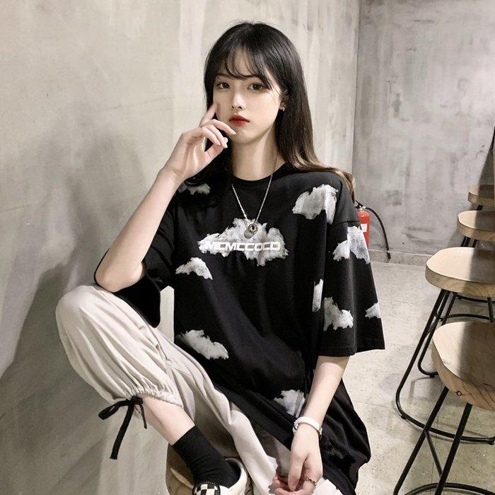 小香風 短袖T恤 時尚穿搭 韓版 暗黑系寬松中長款設計感情侶裝短袖T恤上衣女ins