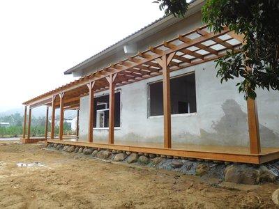 庭院 南方松採光罩 遮雨棚 雨遮 遮陽棚 地板【園匠工坊】免費到府估價