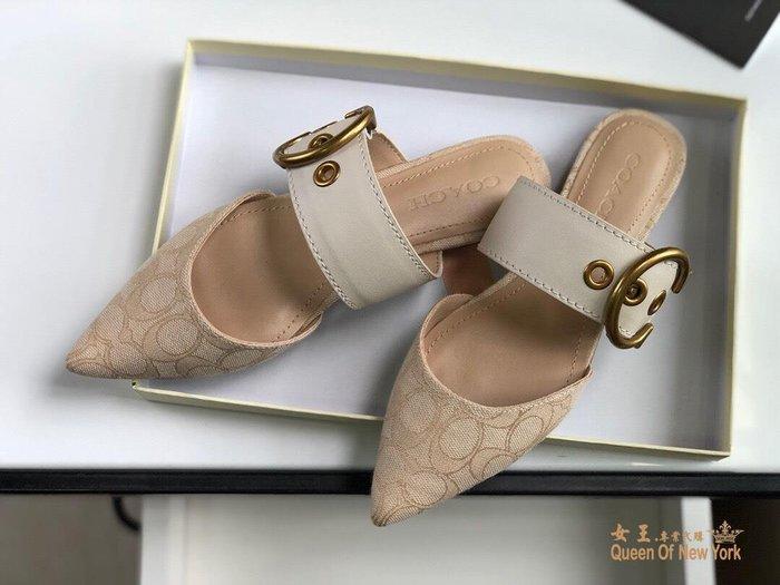 【紐約女王代購】COACH 寇馳 2020新款 懶人鞋 滿版LOGO 休閒鞋 時尚精品 美國連線代購