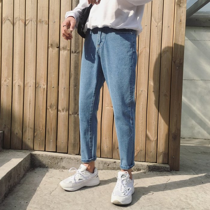 新款牛仔褲2018夏季新款簡約百搭港風牛仔褲子男韓版潮流寬鬆男生哈倫九分褲 夏季牛仔褲