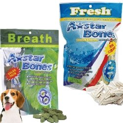 【幸福培菓寵物】美國A-starBones》多效(亮白|雙頭|五星棒)90g小包裝潔牙骨特價:65元