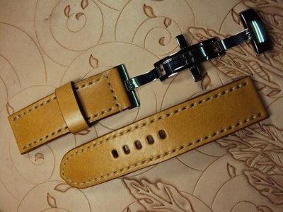 沛納海摺疊釦牛皮錶帶可訂各廠牌手工錶帶Panerai deployant clasp leather strap MIT