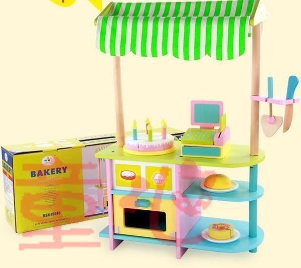 最新款~實木製~仿真蛋糕店~超仿真麵包店~精緻家家酒玩具~◎童心玩具1館◎