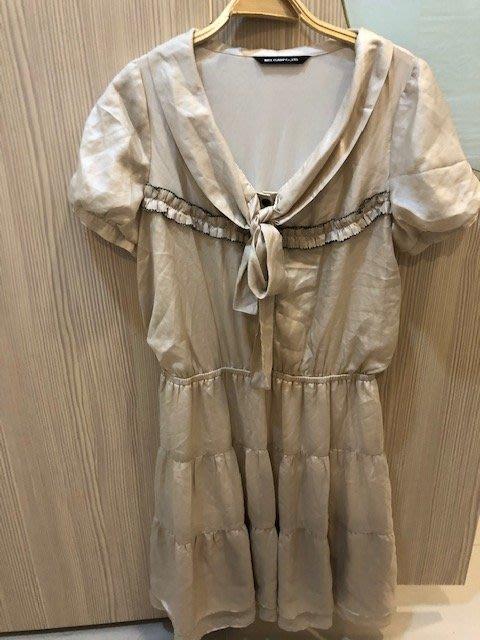小花別針、百貨專櫃【NICE CLAUP】日本雪紡裙短袖洋裝
