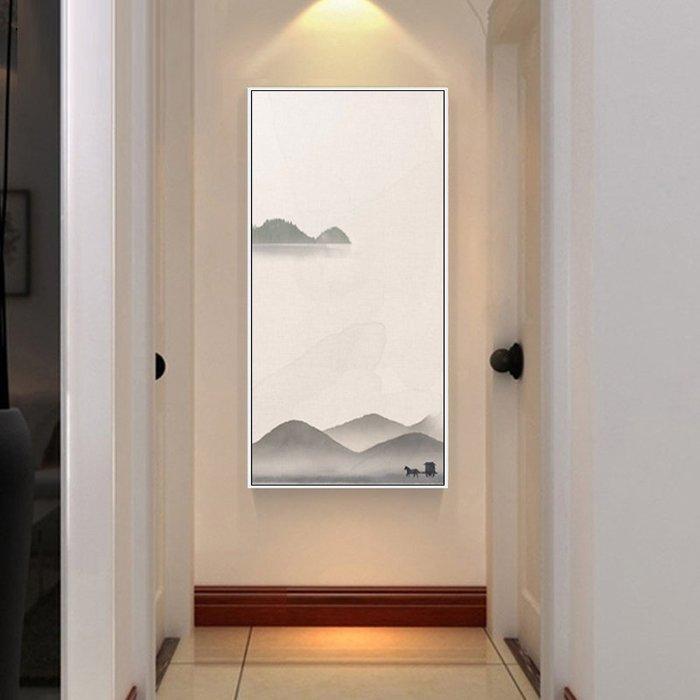 新中式禪意山水裝飾畫客廳玄關圓形裝飾畫(4款可選)