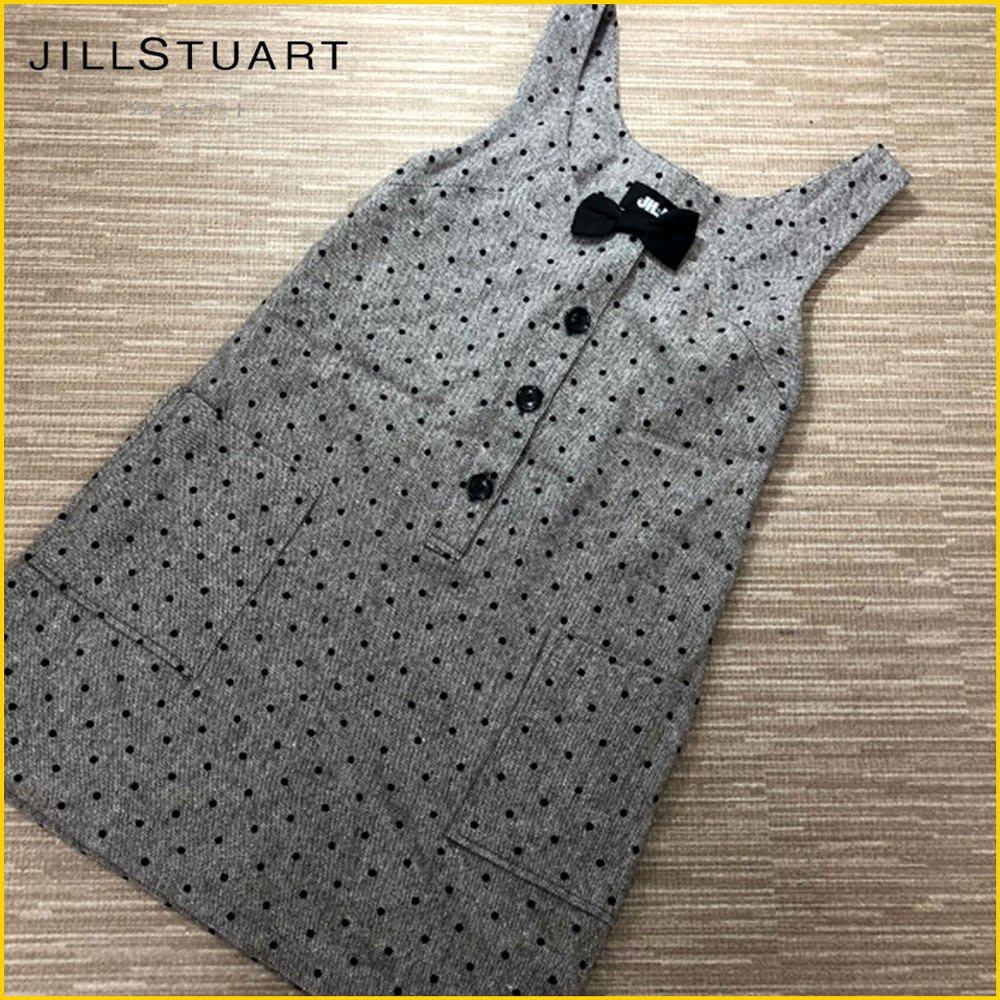 日本二手衣✈️JILL STUART 近新品 毛料 圓点洋裝 半門襟 背心 連身裙 大口袋背心裙 無袖洋裝 A3185J