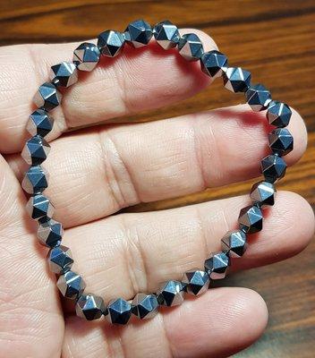 天然 太赫茲 鈦赫茲手鍊6mm時尚鑽石切面 能量石手珠手鍊DIY串珠項鍊#A1102
