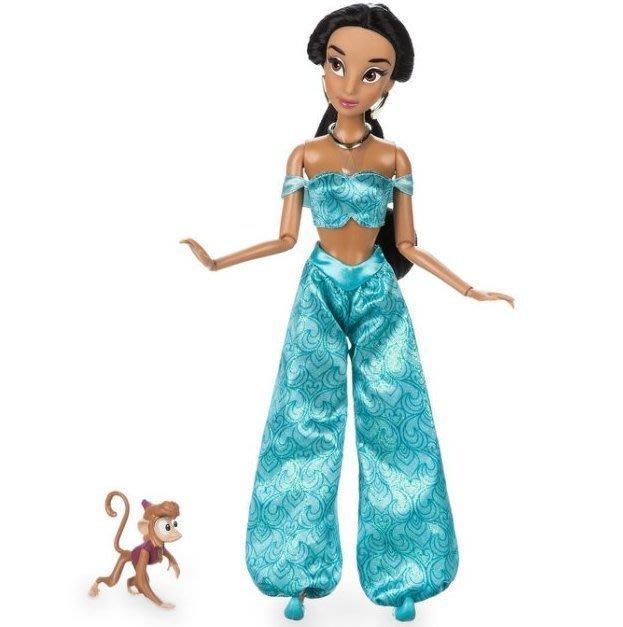 現貨【迪士尼 Disney】全新美國正品 經典款 芭比娃娃 阿拉丁 茉莉公主+猴子 Jasmine【高約28公分】盒損