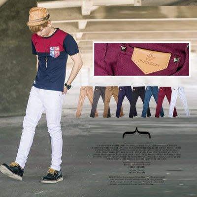 柒零年代【N8557J】正韓版型英倫帥氣皮標昴釘配飾小直統休閒褲 (SH8197)