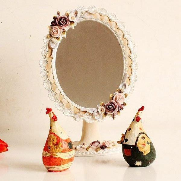 粉紅玫瑰精品屋~歐式田園公主梳妝鏡子 玫瑰復古化妝鏡 ~現貨