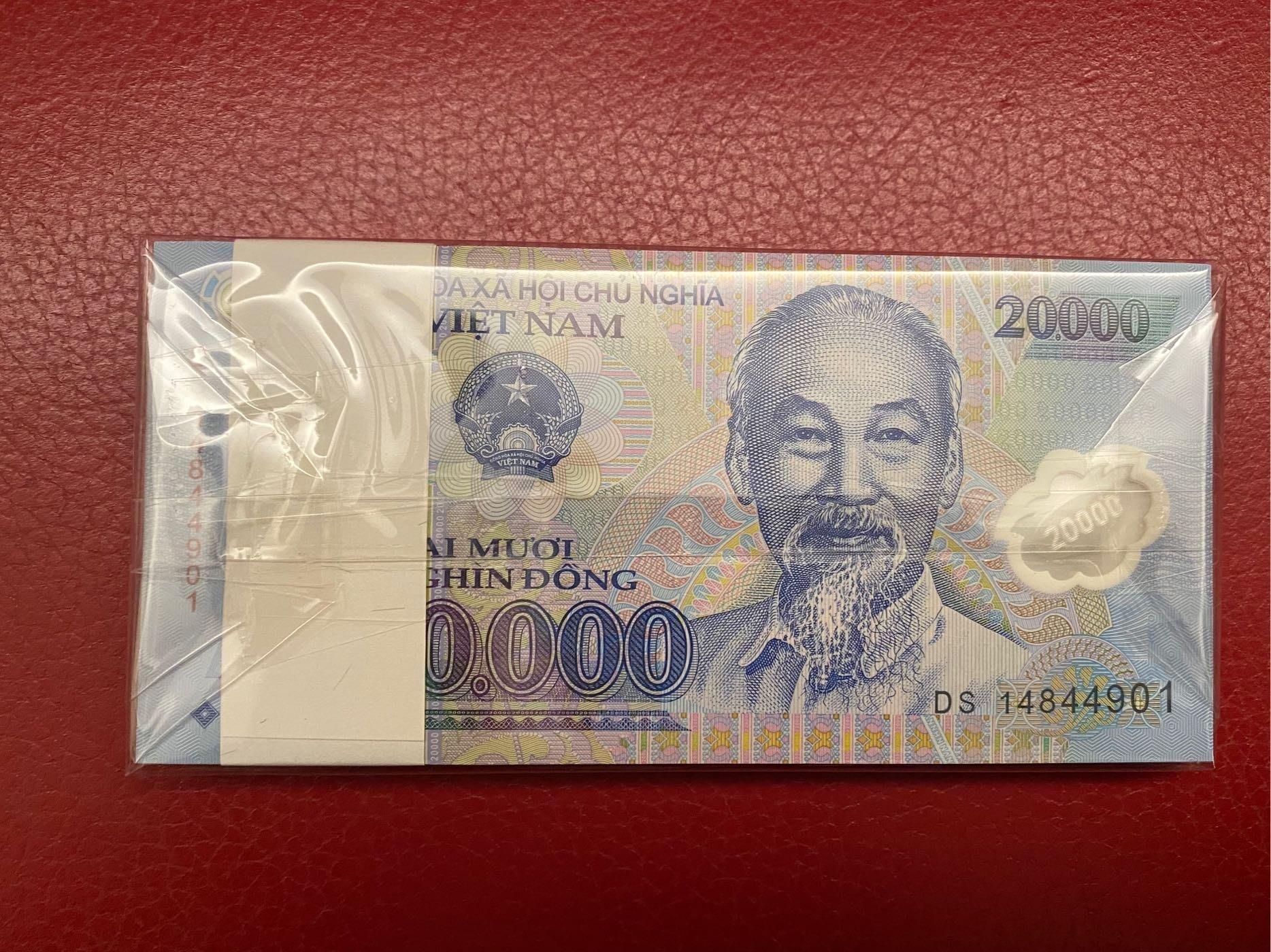 越南塑膠紙鈔20000盾《一刀全新百連》