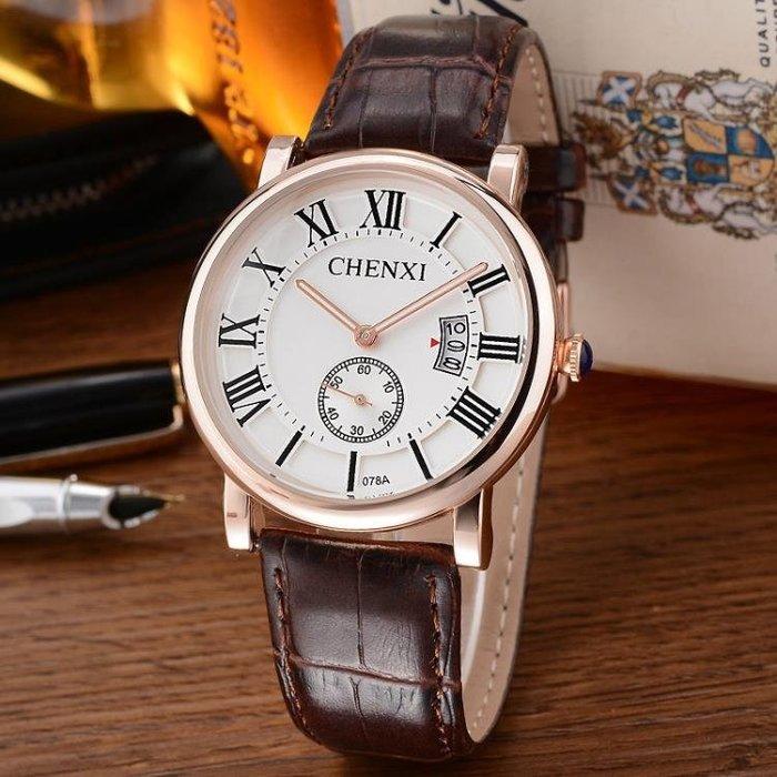手錶日歷小三針時尚男錶玫瑰金情侶腕錶皮帶p71
