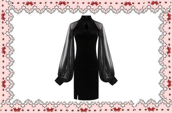 ⚡肯尼芭比⚡【保證實品拍攝】【最新】黑色長袖鏤空及膝裙☆°網紗泡泡袖連身洋裝☆°╮合身修身顯瘦【日本製】