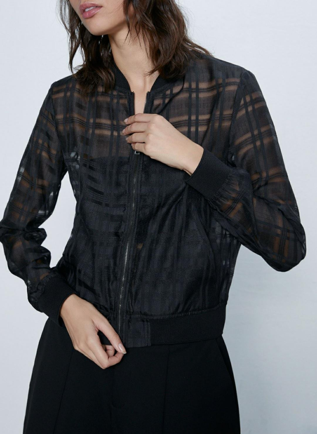 ZARA新款透明硬紗飛行員外套,XL合身版#現貨