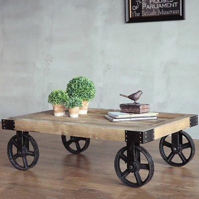 [ 夏法羅 傢俱 ]  進口實木鐵滾輪茶几 LOFT鐵木風 咖啡桌 茶几 XF-E48