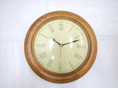 【Timezone Shop】出口樣品原木色圓形掛鐘 羅馬字 深色/淺色 時鐘/壁鐘/掛鐘/CLOCK