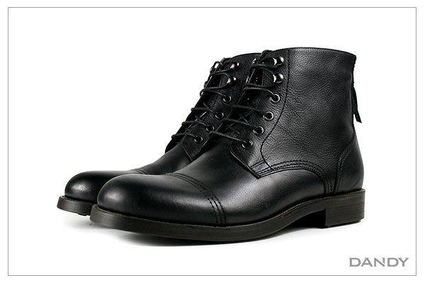 ├ DANDY ┤真牛皮燻舊壓紋短靴 ‧ 2018新款時尚黑色-RX-107A