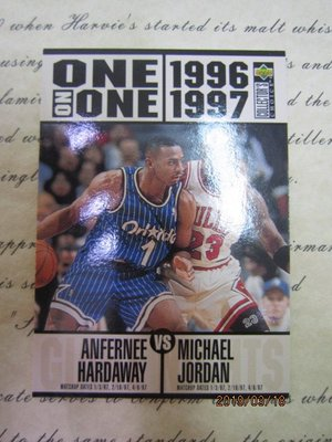 新賣家~Michael Jordan~Upper Deck~20年老卡~ONE on ONE~10 1元起標