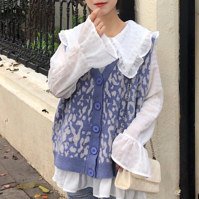 荷葉邊雪紡衫&豹紋娃娃領針織馬甲 艾爾莎【TGK8587】