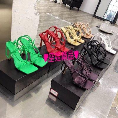 ♥空姐精品♥2020春夏最新 B*v 款 超美楦型方頭高跟涼鞋 性感綁帶羅馬涼鞋 高跟鞋