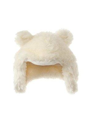 《Baby GAP小熊帽》美國品牌 秋冬款 小女童/小女生 象牙白 保暖 仿皮草小熊造型護耳帽