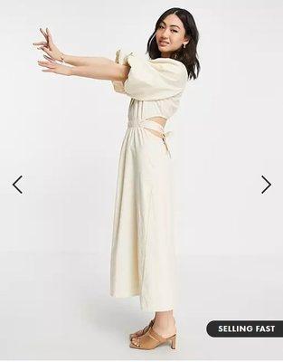 (嫻嫻屋) 英國ASOS -Pretty Lavish優雅時尚米色圓領泡泡袖部份切口蝴蝶結綁帶背中長裙洋裝SF21