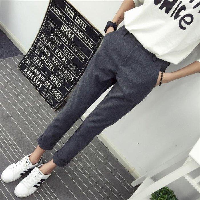 2018褲子女秋季新款韓版哈倫褲九分小腳褲修身寬鬆西裝直筒休閒褲