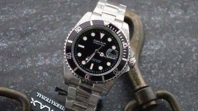 OMAX時尚勞利仕名款潮流黑水鬼submarine造型不鏽鋼製石英錶~日本機心