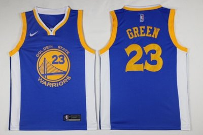 保真NBA球衣勇士#23號 Green格林 主客場經典復古網眼球衣 藍色