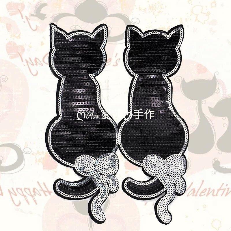 『ღIAsa 愛莎ღ手作雜貨』新品刺繡雙貓咪亮片珠片衣服補丁貼佈T卹布貼服裝輔料