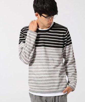 【Shopa】現貨 特價 RAGEBLUE 拼接 條紋 針織衫(附長袖白T) rb570395