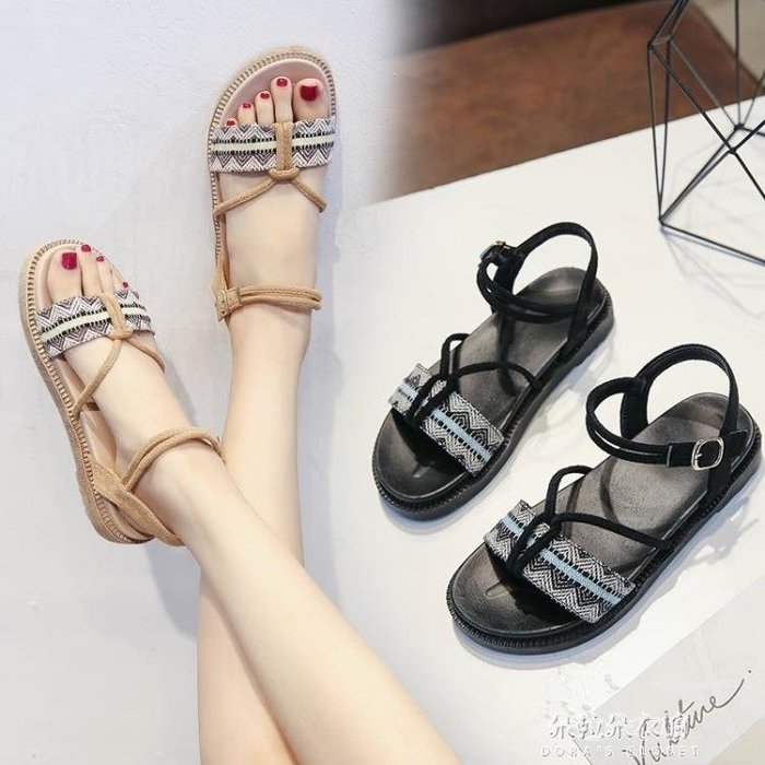 chic涼鞋女夏平底夏季新款學生簡約韓版百搭綁帶黑色羅馬涼鞋
