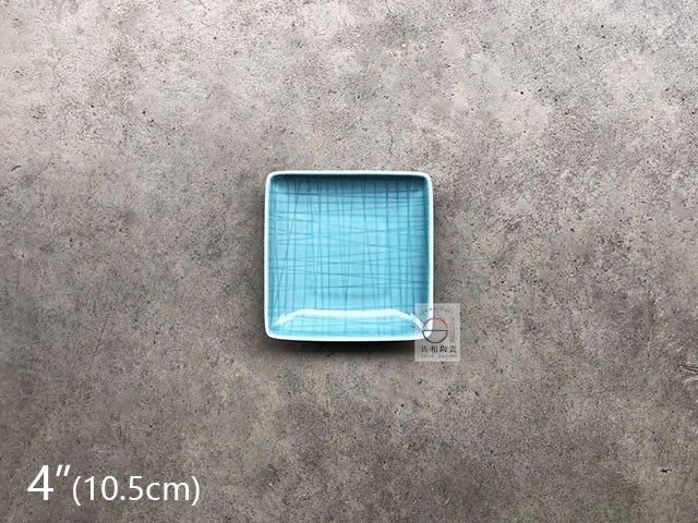 +佐和陶瓷餐具批發+【8218PX08-4 4吋格線四方碟-龍泉藍】系列餐具 四方碟 正角皿 餐廳用盤 營業餐具