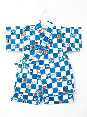 ✪胖達屋日貨✪褲款 130cm 水藍色 方格紋 獅子 日本 男 寶寶 兒童 和服 浴衣 甚平 抓周 收涎 攝影