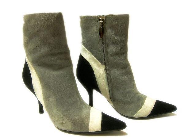 *Beauty*Wina灰黑色斜紋麂皮短靴 6 1/2號