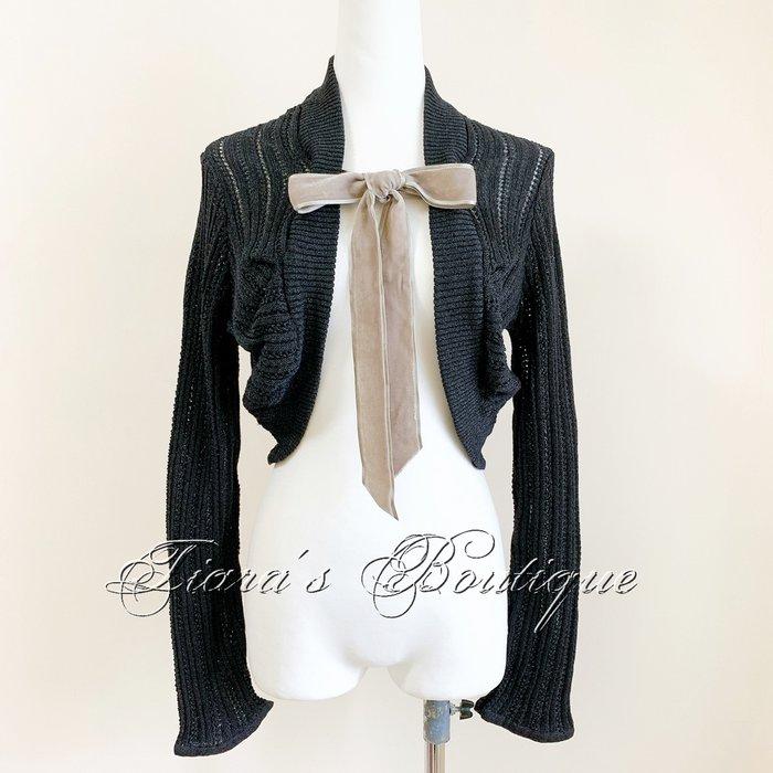 Another Edition 鐵灰色金屬光澤針織波麗露罩衫 絲絨綁帶 低調奢華替穿搭加分的好幫手 (308)