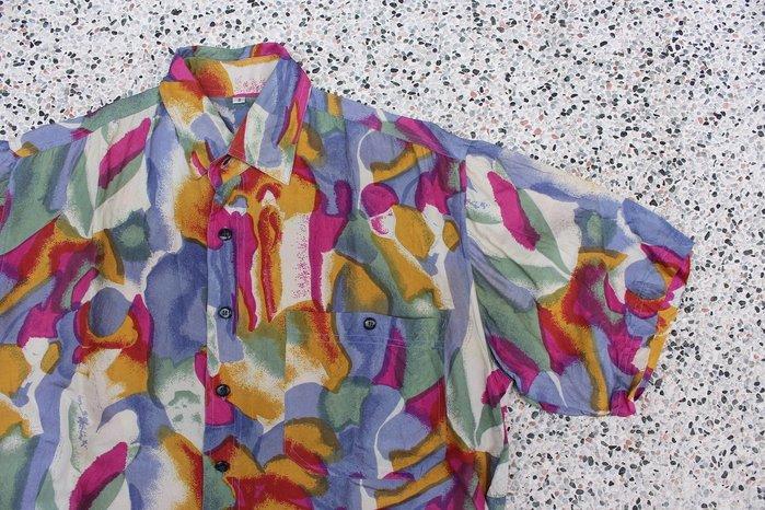 「蔣柒」Vintage 古著 復古白底水彩 老品 夏威夷襯衫 花襯衫 美品 現貨 夏日 短袖襯衫 印花襯衫
