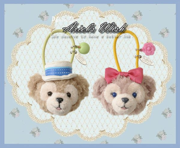 Ariel's Wish日本東京迪士尼Duffy達菲Shelliemay春天野餐蝴蝶結玫瑰髮圈髮飾-剩雪莉玫款已絕版斷貨