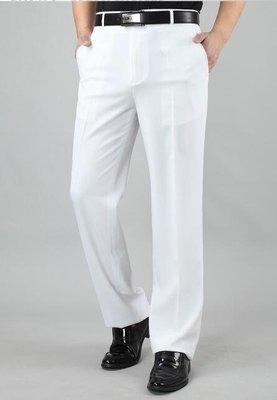 夏季港式純白色西褲中年高腰亞麻男褲男士商務休閒長褲薄款 尚美優品