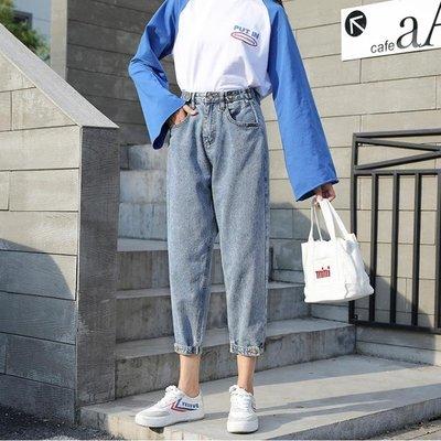 牛仔褲 女寬鬆高腰九分老爹韓版蘿卜學生闊腿復古網紅直筒褲子女潮