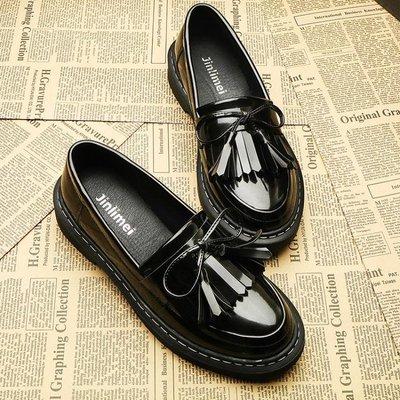 牛津鞋/紳士鞋 英倫流蘇小皮鞋女牛津平底樂福鞋學生蝴蝶結單鞋學院復古社會鞋子