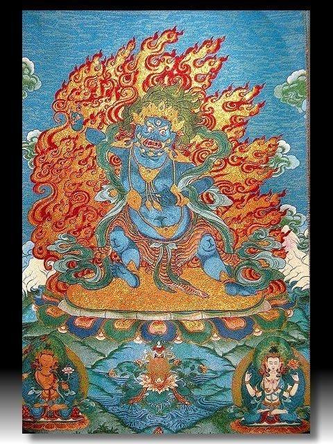 【 金王記拍寶網 】S860 中國西藏藏密佛像刺繡唐卡 刺繡 (大)一張 完美罕見~