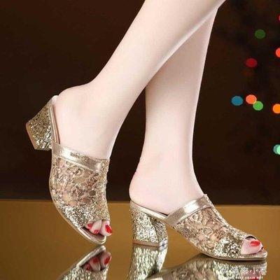 鞋子女學生新款紗網魚嘴粗跟拖鞋女鞋夏時尚百搭女式涼拖女鞋涼鞋
