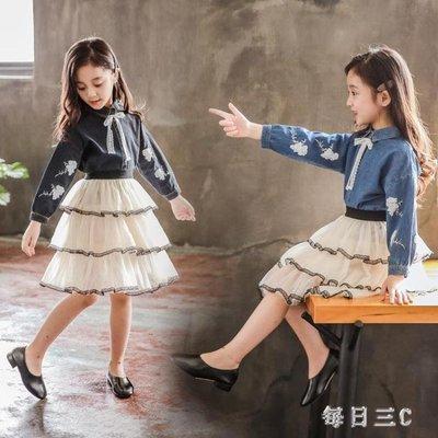 女童兩件套裙韓版秋季中大童時尚長袖牛仔裙套裝 zm8007