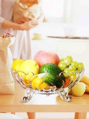 日和生活館 歐式大號水晶玻璃果盤現代客廳茶幾創意糖果盤家用干果盤水果盤S686