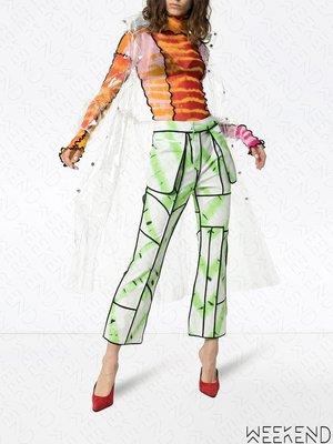 【WEEKEND】 ASAI Patchwork 拼接 透視 合身 長袖 上衣 紅橘色系